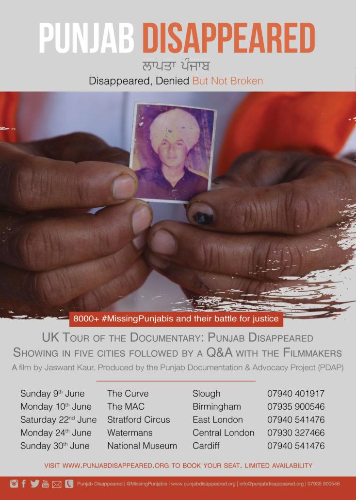 Punjab Disappeared UK tour poster